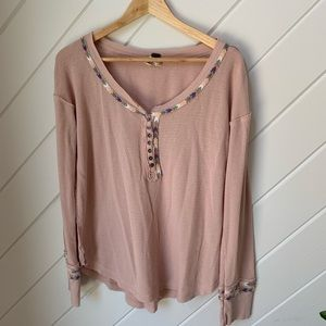 FREE PEOPLE casual waffle shirt